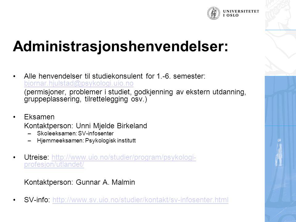 Administrasjonshenvendelser: Alle henvendelser til studiekonsulent for 1.-6.