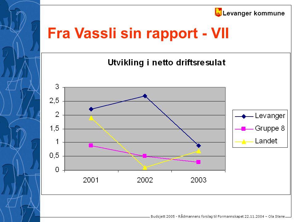 Levanger kommune Budsjett 2005 - Rådmannens forslag til Formannskapet 22.11.2004 – Ola Stene Fra Vassli sin rapport - VII