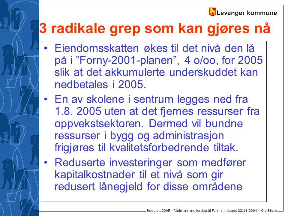 Levanger kommune Budsjett 2005 - Rådmannens forslag til Formannskapet 22.11.2004 – Ola Stene 3 radikale grep som kan gjøres nå Eiendomsskatten økes ti