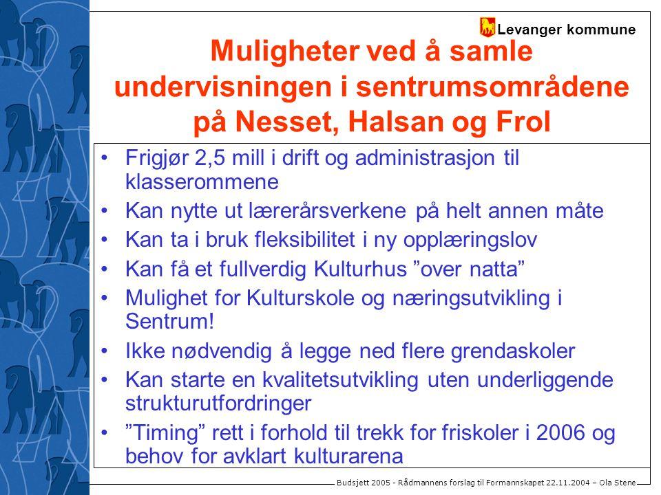 Levanger kommune Budsjett 2005 - Rådmannens forslag til Formannskapet 22.11.2004 – Ola Stene Muligheter ved å samle undervisningen i sentrumsområdene