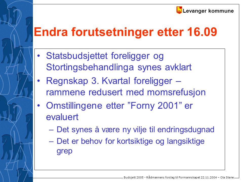 Levanger kommune Budsjett 2005 - Rådmannens forslag til Formannskapet 22.11.2004 – Ola Stene Endra forutsetninger etter 16.09 Statsbudsjettet foreligg