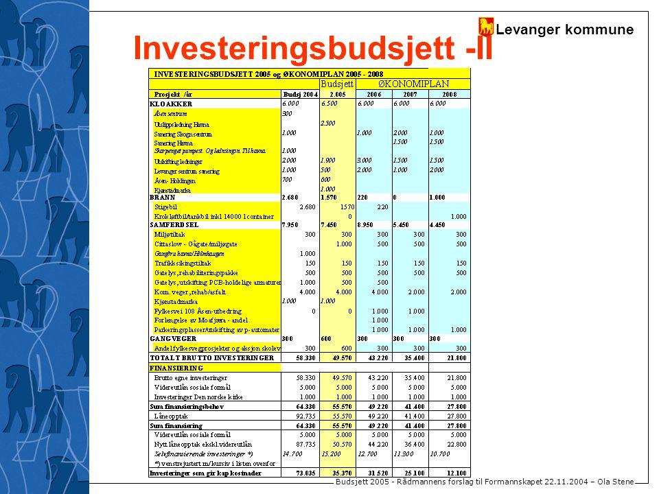 Levanger kommune Budsjett 2005 - Rådmannens forslag til Formannskapet 22.11.2004 – Ola Stene Investeringsbudsjett -II