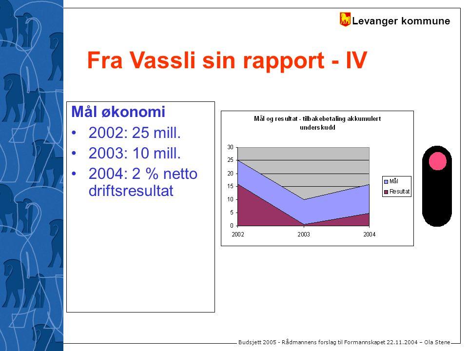 Levanger kommune Budsjett 2005 - Rådmannens forslag til Formannskapet 22.11.2004 – Ola Stene Mål økonomi 2002: 25 mill. 2003: 10 mill. 2004: 2 % netto
