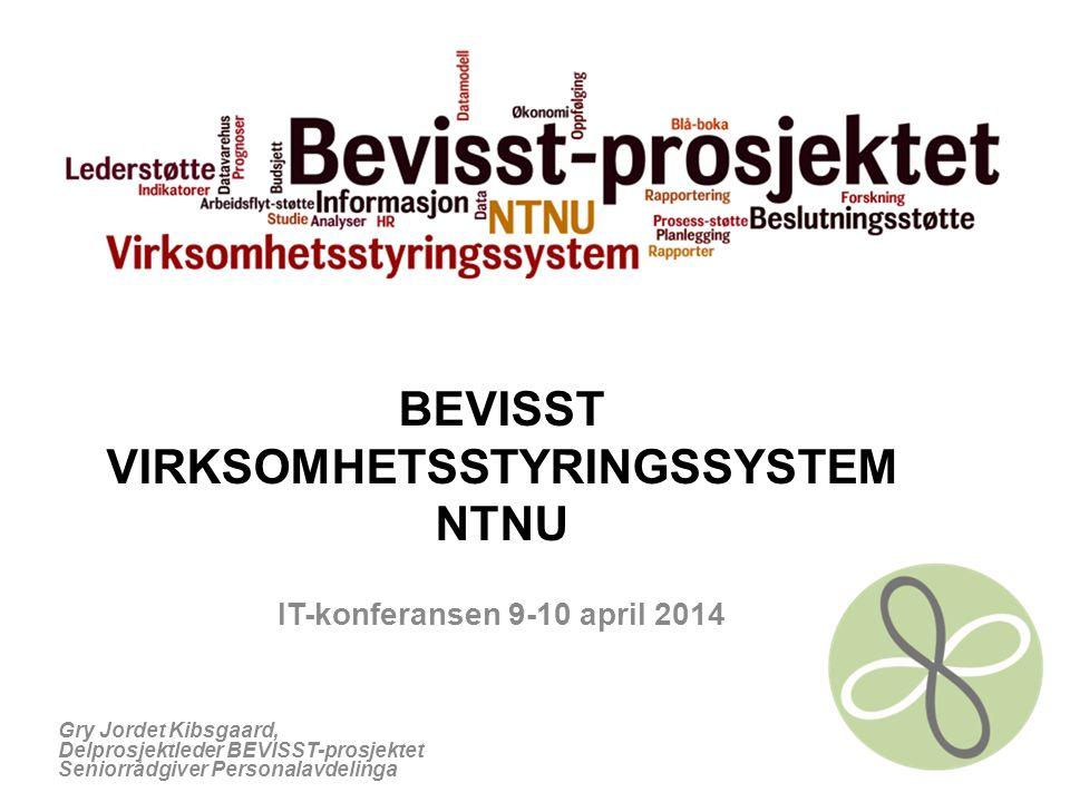 BEVISST VIRKSOMHETSSTYRINGSSYSTEM NTNU IT-konferansen 9-10 april 2014 Gry Jordet Kibsgaard, Delprosjektleder BEVISST-prosjektet Seniorrådgiver Persona