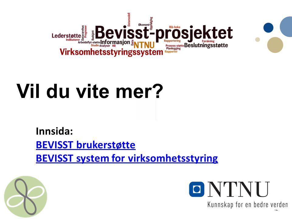 12 Vil du vite mer? Innsida: BEVISST brukerstøtte BEVISST system for virksomhetsstyring BEVISST brukerstøtte BEVISST system for virksomhetsstyring
