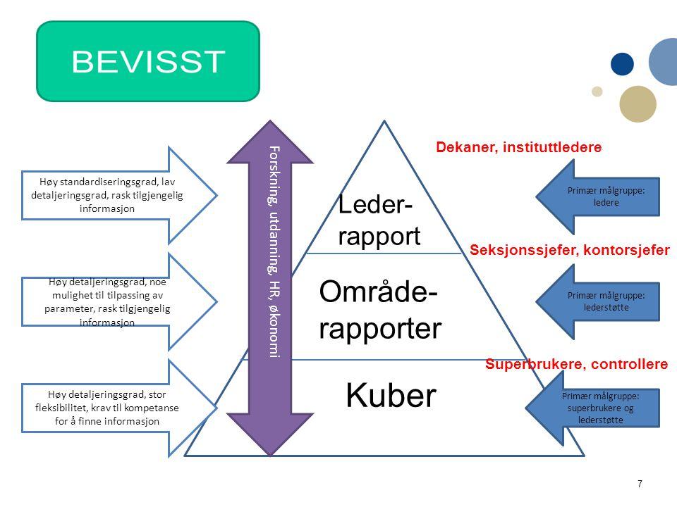 7 Leder- rapport Område- rapporter Kuber Primær målgruppe: ledere Primær målgruppe: lederstøtte Primær målgruppe: superbrukere og lederstøtte Forsknin