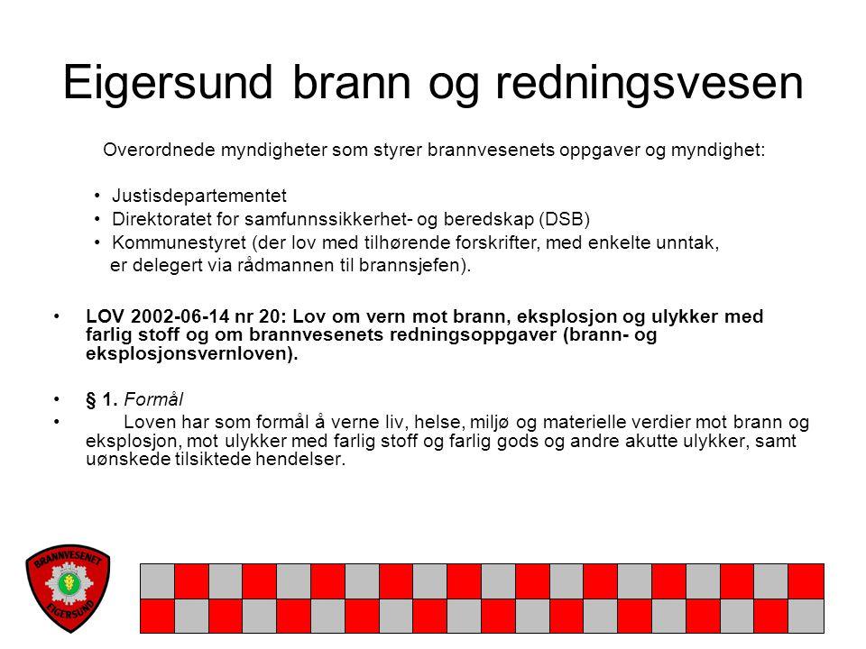 Eigersund brann og redningsvesen FOR 2002-06-26 nr 729: Forskrift om organisering og dimensjonering av brannvesen § 1-1.