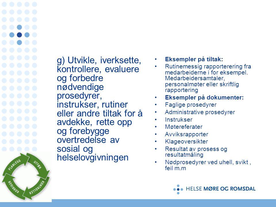 g) Utvikle, iverksette, kontrollere, evaluere og forbedre nødvendige prosedyrer, instrukser, rutiner eller andre tiltak for å avdekke, rette opp og fo