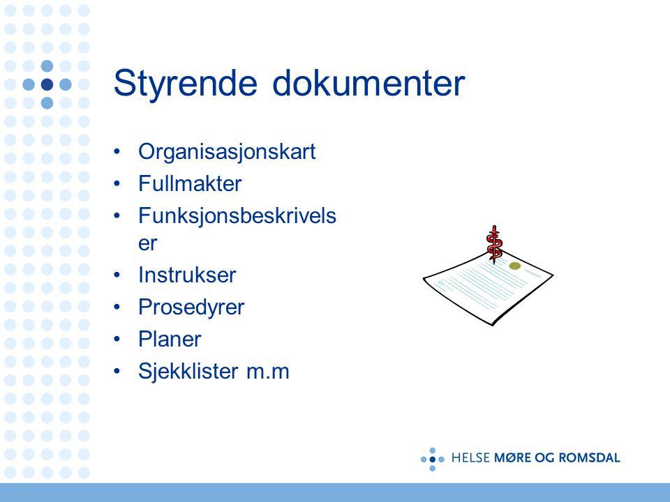 Styrende dokumenter Organisasjonskart Fullmakter Funksjonsbeskrivels er Instrukser Prosedyrer Planer Sjekklister m.m