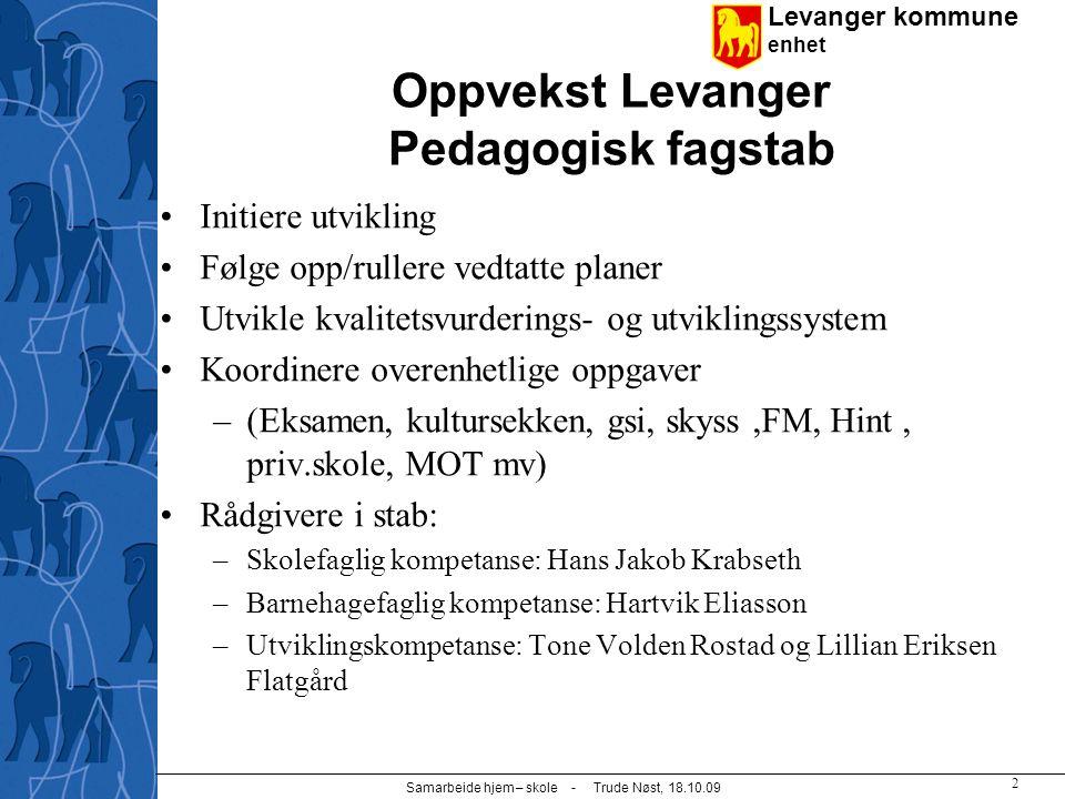 Levanger kommune enhet Samarbeide hjem – skole - Trude Nøst, 18.10.09 3 Barn- og familieenheten  BaFa er et tverrfaglig ressurssenter som bidrar til helhetlige, forebyggende og samordnede tiltakskjeder for brukerne.