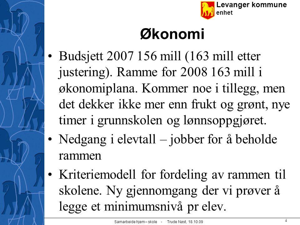 Levanger kommune enhet Samarbeide hjem – skole - Trude Nøst, 18.10.09 4 Økonomi Budsjett 2007 156 mill (163 mill etter justering). Ramme for 2008 163