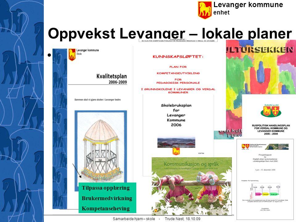 Levanger kommune enhet Samarbeide hjem – skole - Trude Nøst, 18.10.09 7 Oppvekst Levanger – lokale planer Planer Tilpassa opplæring Brukermedvirkning