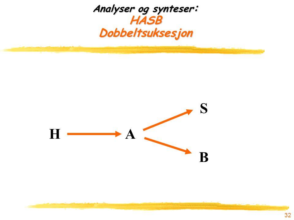 32 Analyser og synteser : HASB Dobbeltsuksesjon HA B S