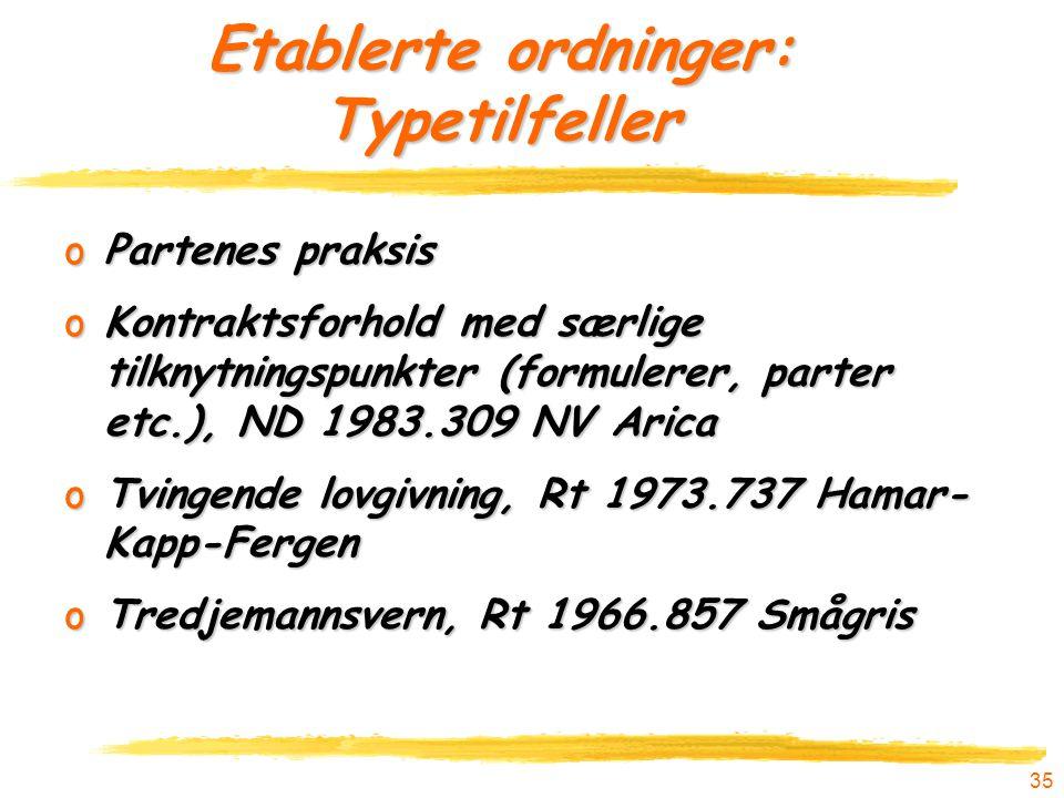 35 Etablerte ordninger: Typetilfeller oPartenes praksis oKontraktsforhold med særlige tilknytningspunkter (formulerer, parter etc.), ND 1983.309 NV Ar