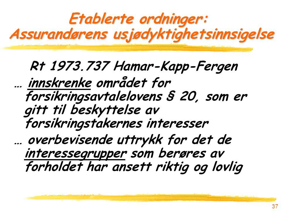 37 Etablerte ordninger: Assurandørens usjødyktighetsinnsigelse Rt 1973.737 Hamar-Kapp-Fergen … innskrenke området for forsikringsavtalelovens § 20, so