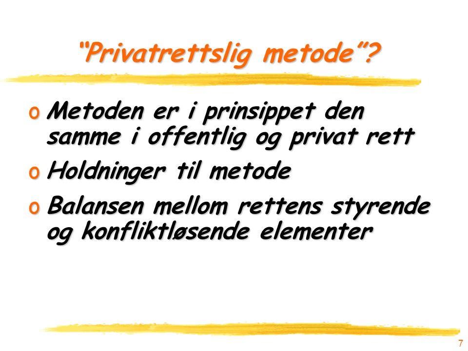 """7 """"Privatrettslig metode""""? """"Privatrettslig metode""""? oMetoden er i prinsippet den samme i offentlig og privat rett oHoldninger til metode oBalansen mel"""