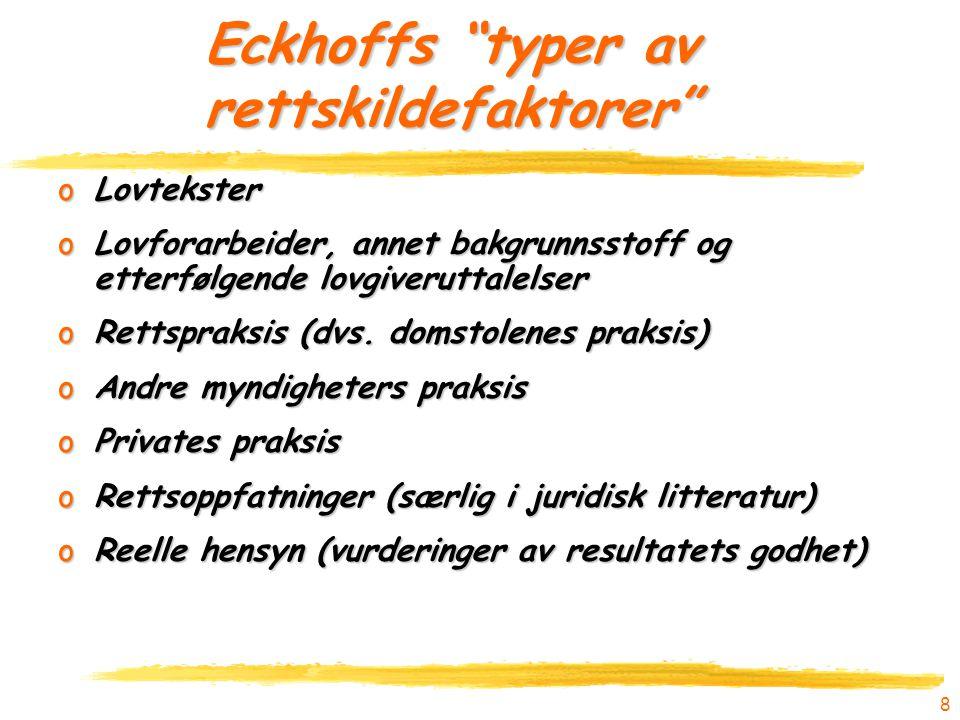 """8 Eckhoffs """"typer av rettskildefaktorer"""" oLovtekster oLovforarbeider, annet bakgrunnsstoff og etterfølgende lovgiveruttalelser oRettspraksis (dvs. dom"""