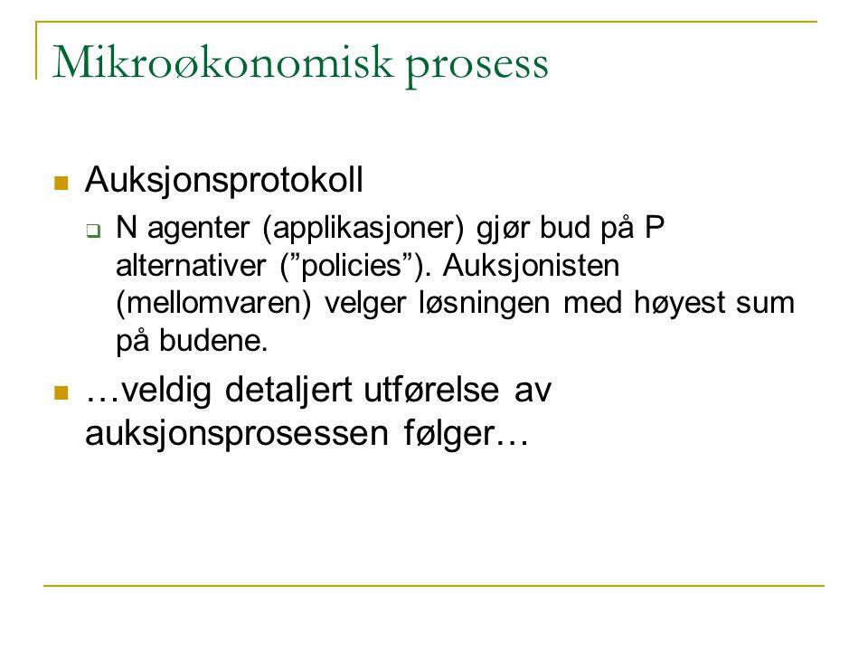 Mikroøkonomisk prosess Auksjonsprotokoll  N agenter (applikasjoner) gjør bud på P alternativer ( policies ).