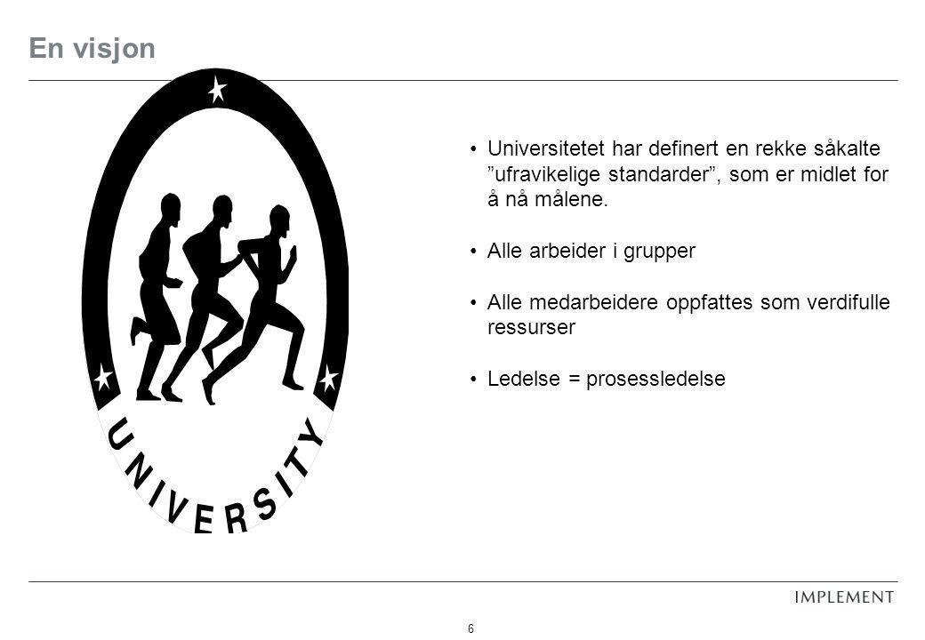 """6 En visjon Universitetet har definert en rekke såkalte """"ufravikelige standarder"""", som er midlet for å nå målene. Alle arbeider i grupper Alle medarbe"""