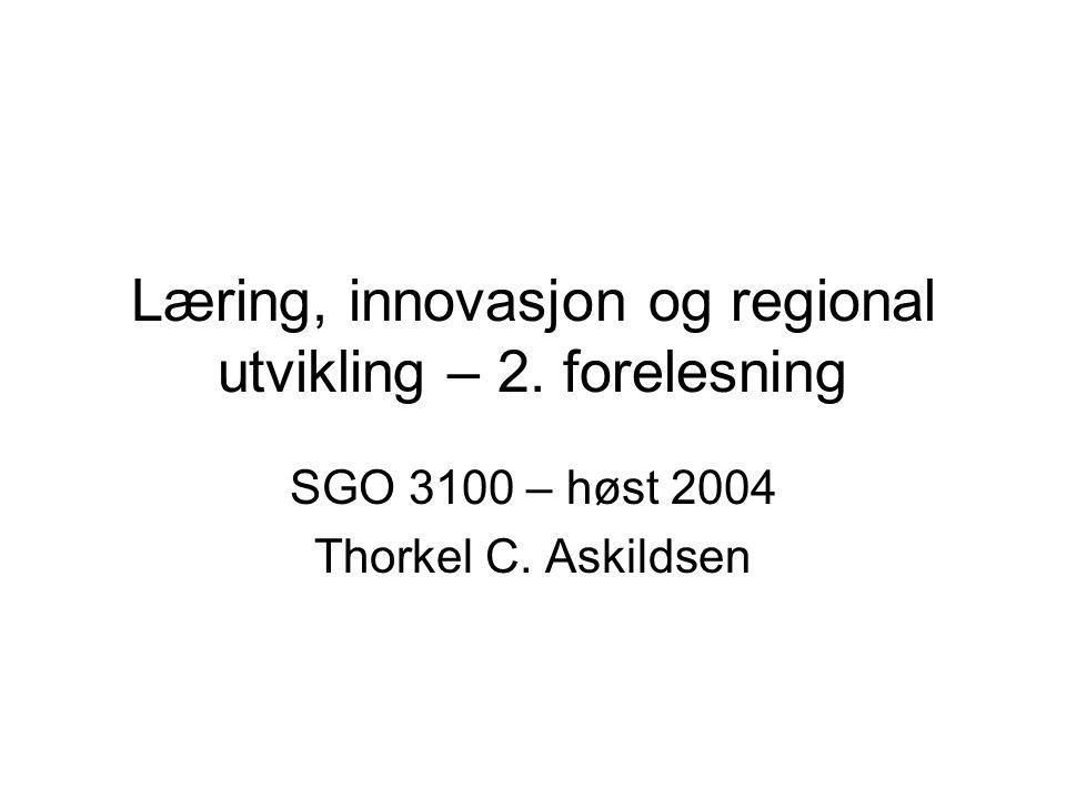 Regionale innovasjonssystemer Begrepet har bakgrunn i nasjonale innovasjonssystemer Man anser altså at foretakene ikke er alene om kunnskapsutvikling Triple Helix : –Foretak –kunnskapsinstitusjoner –Offentlige myndigheter Argumentet for regionale innovasjonssystemer hevdes av Cooke å være at spesielt i store land er det vanskelig å finne ett, nasjonalt innovasjonssystem Til tross for at Norge, derimot, er ett av verdens minste land, har begrepet fått betydelig fotfeste også her