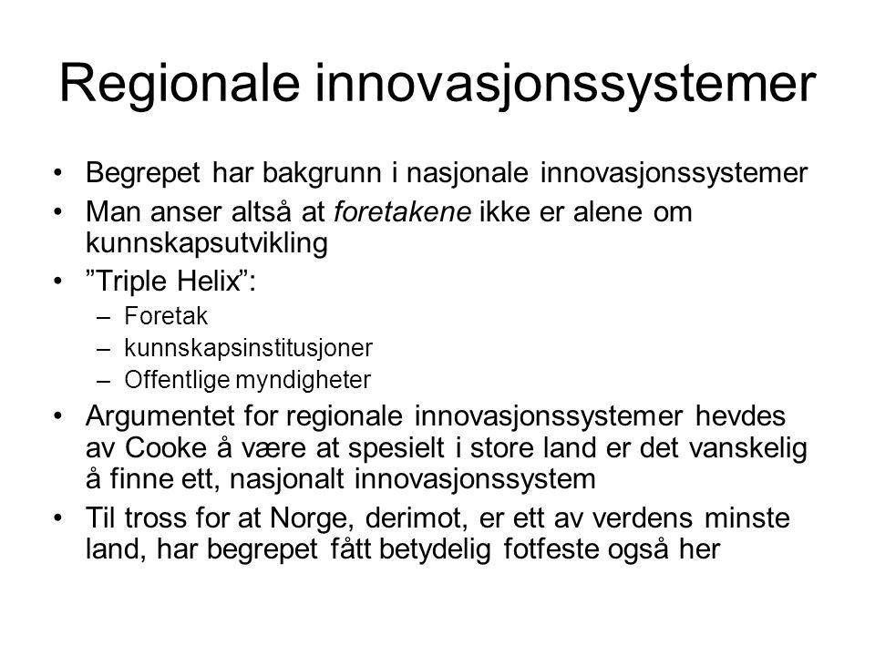 Regionale innovasjonssystemer Begrepet har bakgrunn i nasjonale innovasjonssystemer Man anser altså at foretakene ikke er alene om kunnskapsutvikling