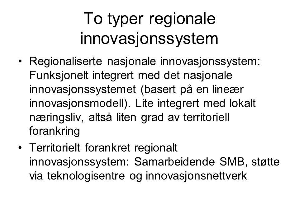 To typer regionale innovasjonssystem Regionaliserte nasjonale innovasjonssystem: Funksjonelt integrert med det nasjonale innovasjonssystemet (basert p