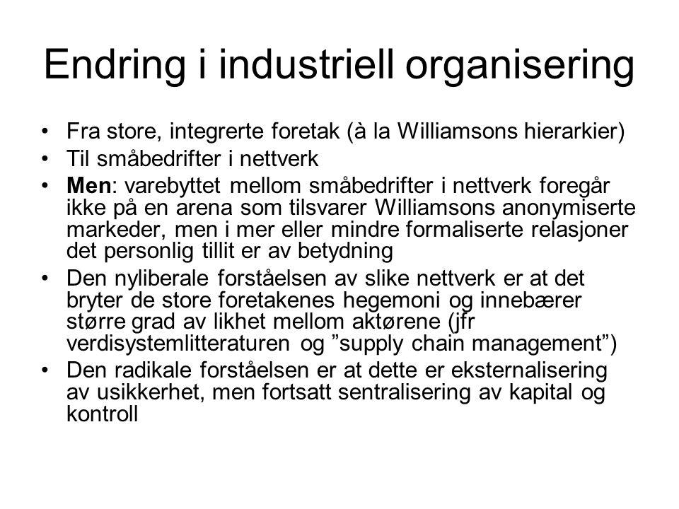 Endring i industriell organisering Fra store, integrerte foretak (à la Williamsons hierarkier) Til småbedrifter i nettverk Men: varebyttet mellom småb