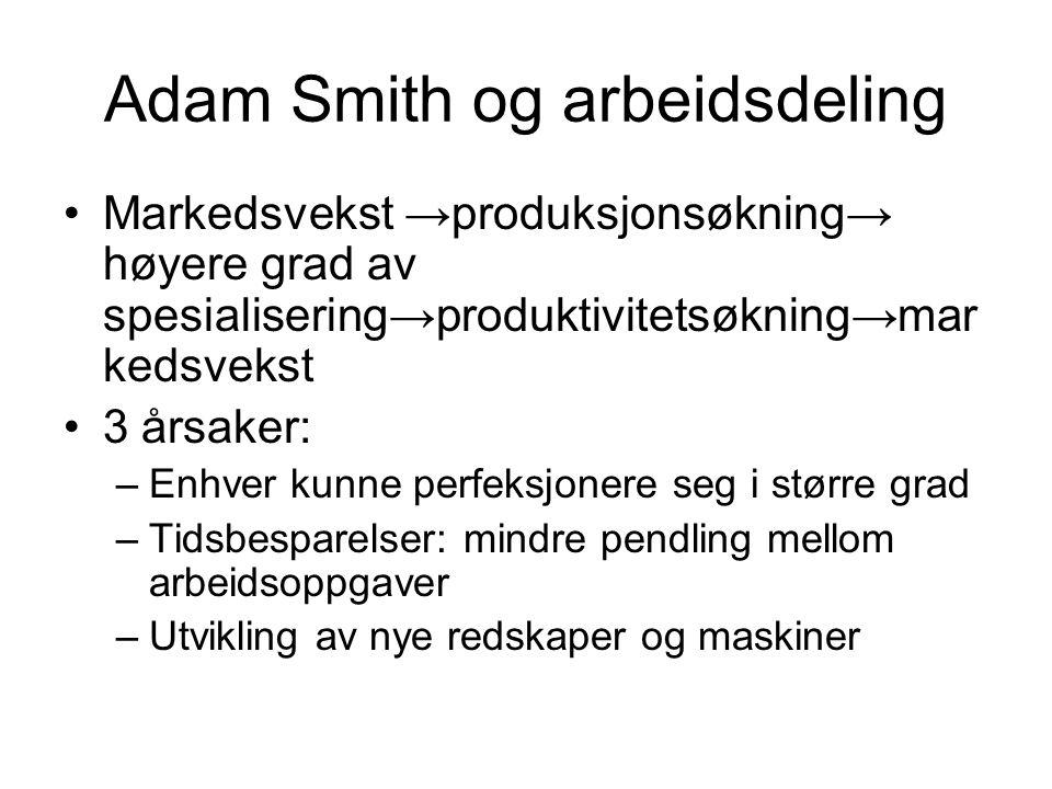 Adam Smith og arbeidsdeling Markedsvekst →produksjonsøkning→ høyere grad av spesialisering→produktivitetsøkning→mar kedsvekst 3 årsaker: –Enhver kunne