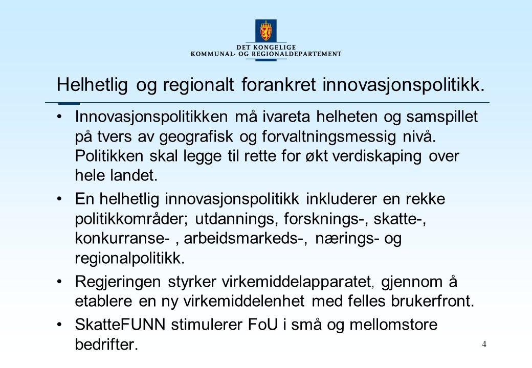 4 Helhetlig og regionalt forankret innovasjonspolitikk.