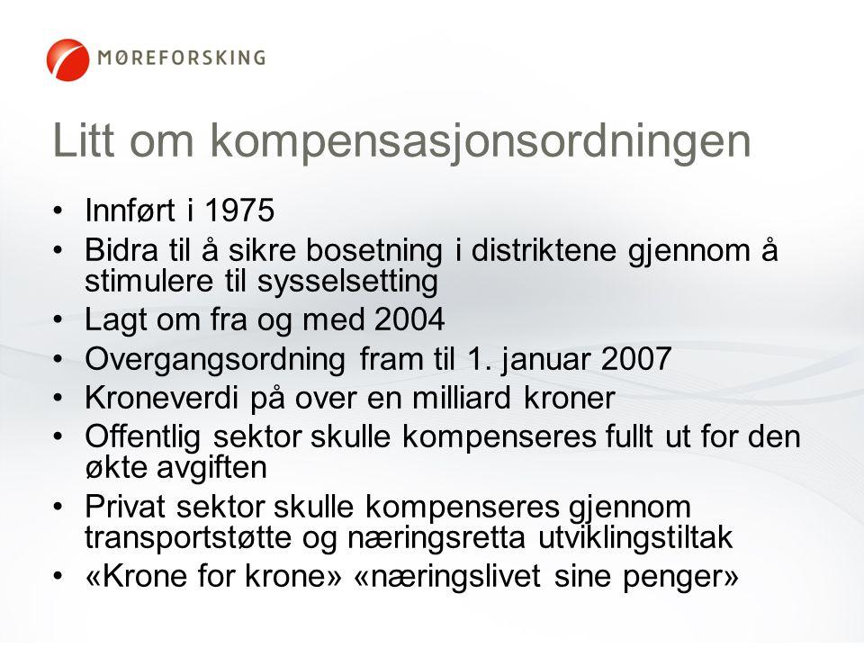Litt om kompensasjonsordningen Innført i 1975 Bidra til å sikre bosetning i distriktene gjennom å stimulere til sysselsetting Lagt om fra og med 2004 Overgangsordning fram til 1.