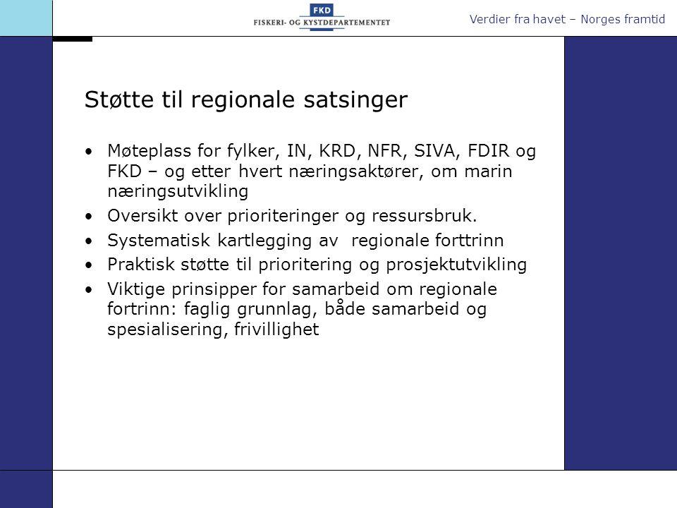 Verdier fra havet – Norges framtid Støtte til regionale satsinger Møteplass for fylker, IN, KRD, NFR, SIVA, FDIR og FKD – og etter hvert næringsaktører, om marin næringsutvikling Oversikt over prioriteringer og ressursbruk.
