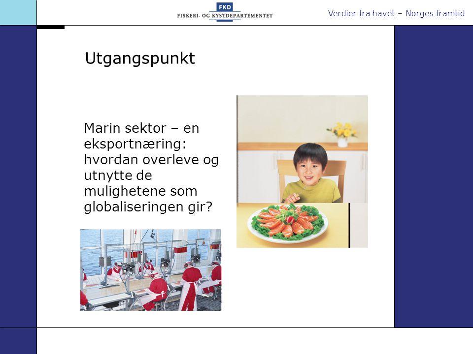 Verdier fra havet – Norges framtid Utgangspunkt Marin sektor – en eksportnæring: hvordan overleve og utnytte de mulighetene som globaliseringen gir