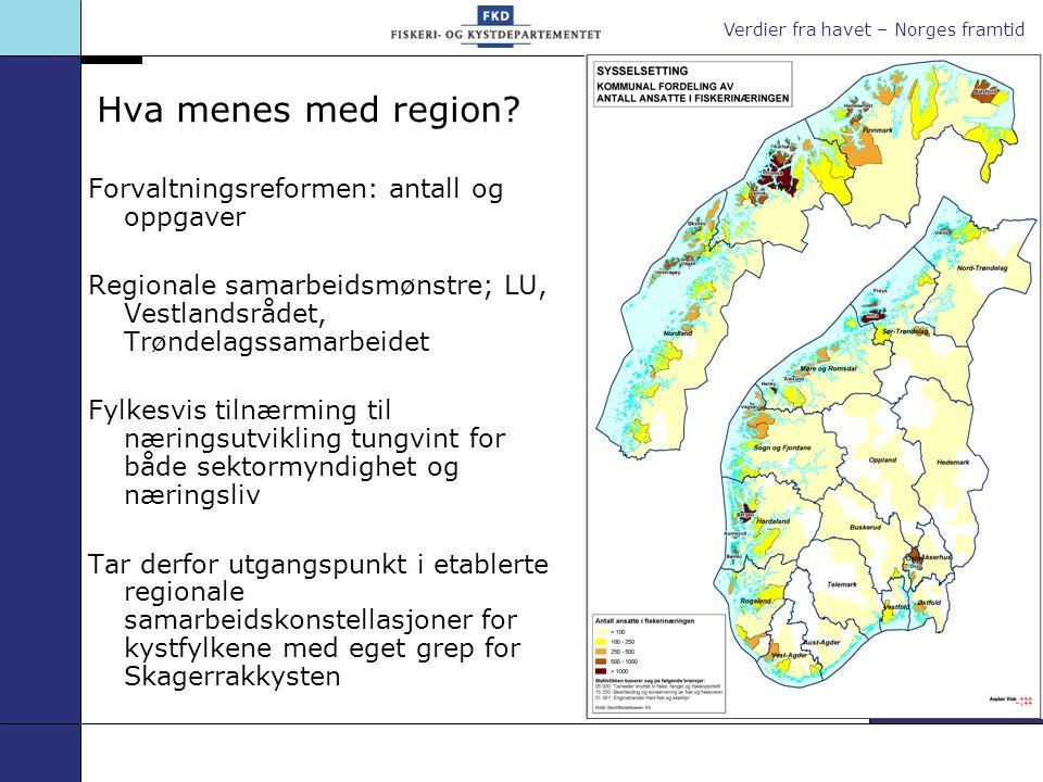 Verdier fra havet – Norges framtid Hva menes med region.