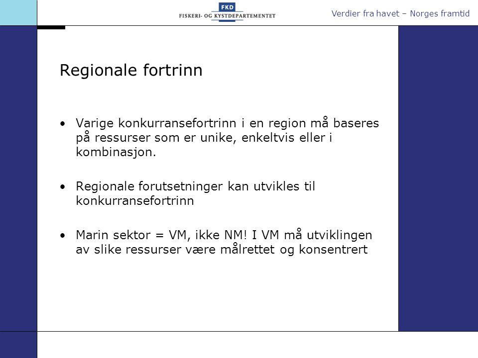 Verdier fra havet – Norges framtid Regionale fortrinn Varige konkurransefortrinn i en region må baseres på ressurser som er unike, enkeltvis eller i kombinasjon.