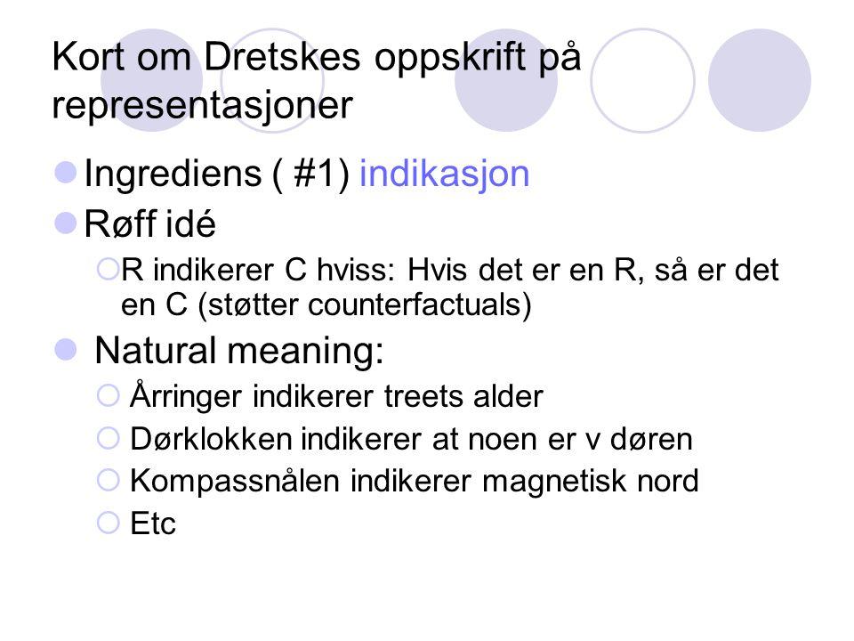 Kort om Dretskes oppskrift på representasjoner Ingrediens ( #1) indikasjon Røff idé  R indikerer C hviss: Hvis det er en R, så er det en C (støtter c