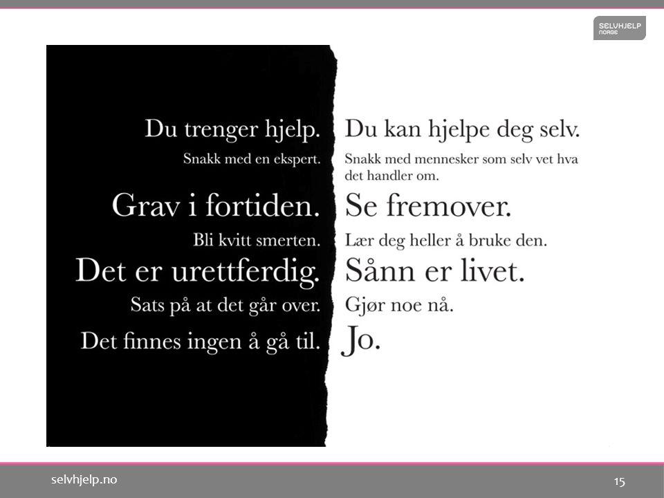 14 selvhjelp.no Forskning på selvhjelp i Norge Forskningsprosjekt: Endringsarbeid i selvhjelpsgrupper - perspektiver på deltakelse og samarbeid av NIBR Les mer på www.selvhjelp.no