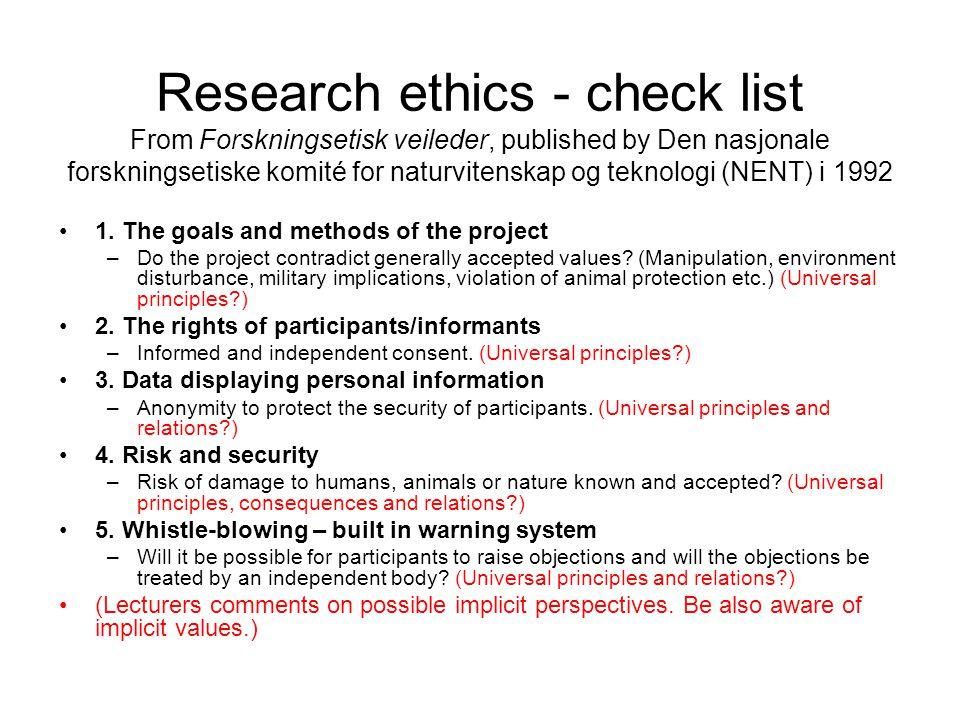 Research ethics - check list From Forskningsetisk veileder, published by Den nasjonale forskningsetiske komité for naturvitenskap og teknologi (NENT)