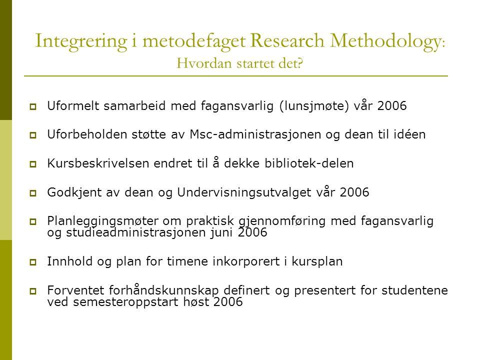 Integrering i metodefaget Research Methodology : Hvordan startet det.