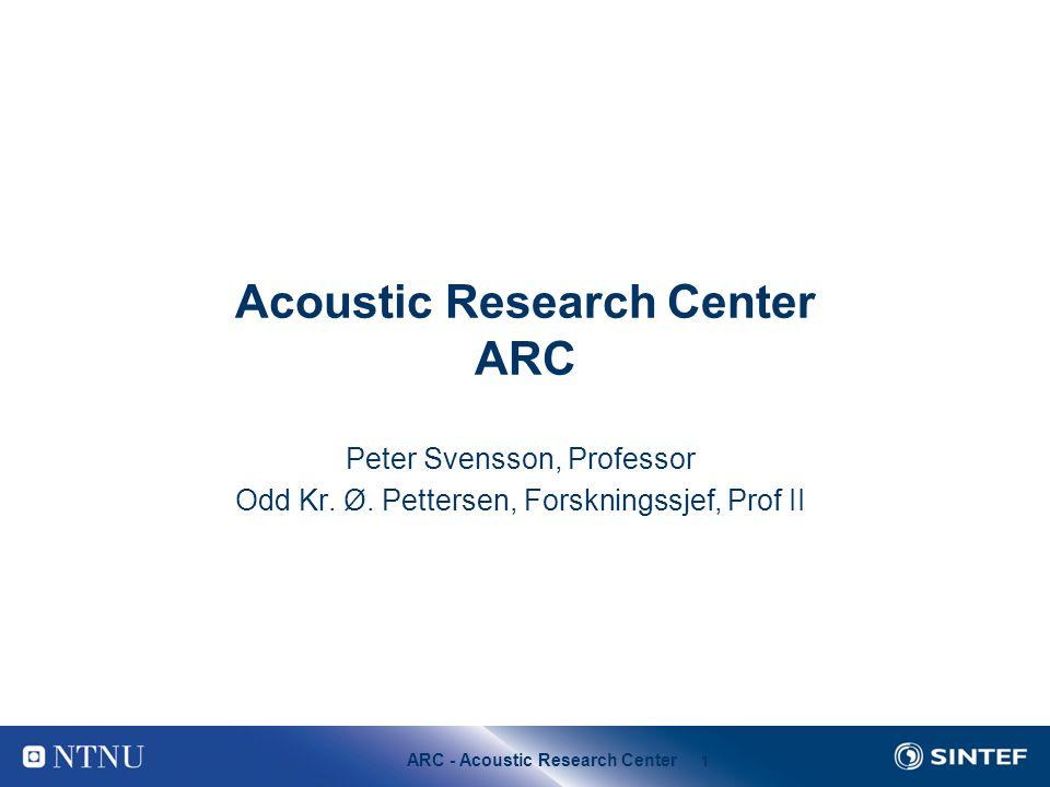 ARC - Acoustic Research Center 1 Acoustic Research Center ARC Peter Svensson, Professor Odd Kr. Ø. Pettersen, Forskningssjef, Prof II