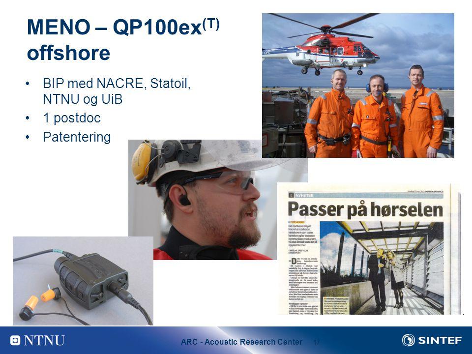 ARC - Acoustic Research Center 17 MENO – QP100ex (T) offshore BIP med NACRE, Statoil, NTNU og UiB 1 postdoc Patentering
