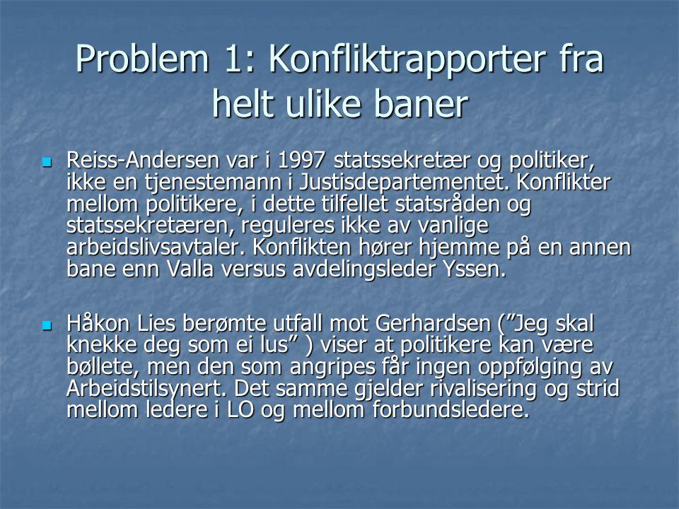 Problem 1: Konfliktrapporter fra helt ulike baner Reiss-Andersen var i 1997 statssekretær og politiker, ikke en tjenestemann i Justisdepartementet.