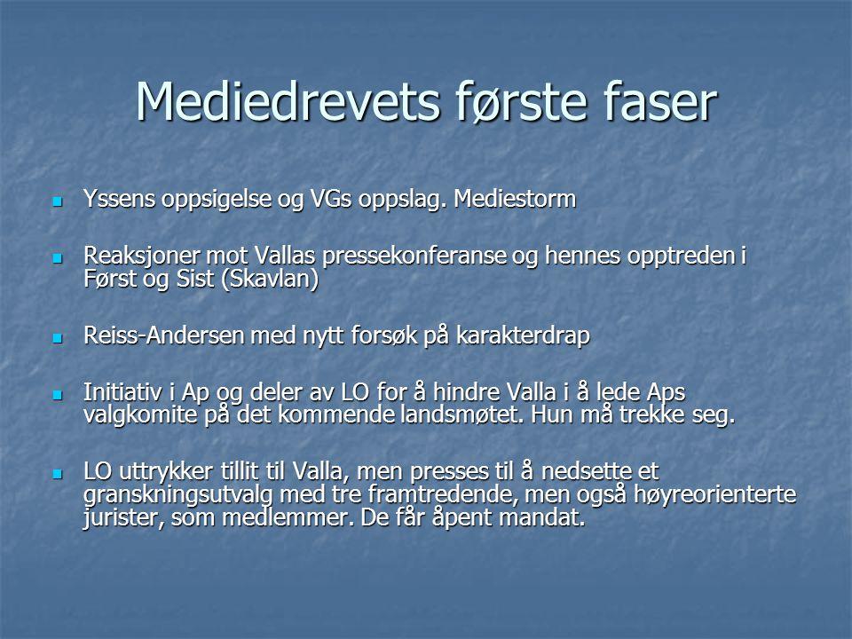 Mediedrevets første faser Yssens oppsigelse og VGs oppslag.