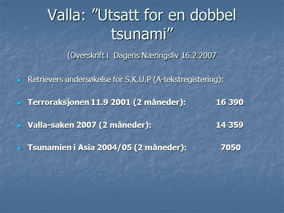 Valla: Utsatt for en dobbel tsunami (Overskrift i Dagens Næringsliv 16.2 2007 Retrievers undersøkelse for S.K.U.P (A-tekstregistering): Retrievers undersøkelse for S.K.U.P (A-tekstregistering): Terroraksjonen 11.9 2001 (2 måneder): 16 390 Terroraksjonen 11.9 2001 (2 måneder): 16 390 Valla-saken 2007 (2 måneder):14 359 Valla-saken 2007 (2 måneder):14 359 Tsunamien i Asia 2004/05 (2 måneder): 7050 Tsunamien i Asia 2004/05 (2 måneder): 7050