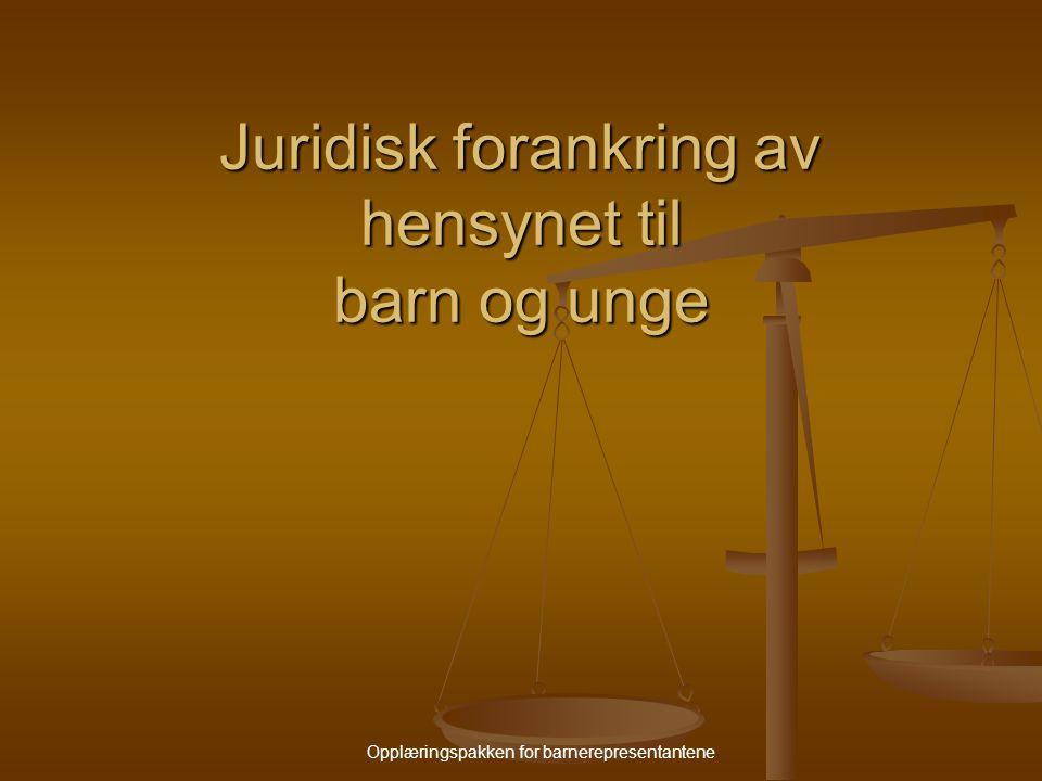 Opplæringspakken for barnerepresentantene Juridisk forankring av hensynet til barn og unge