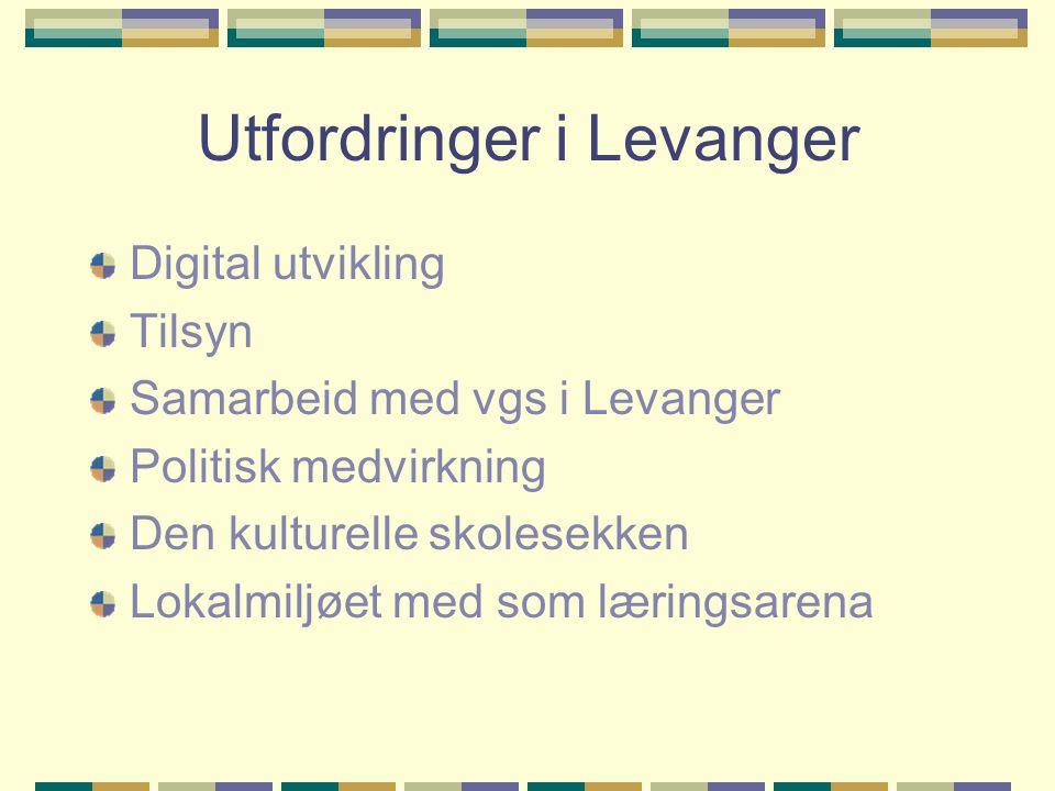 Utfordringer i Levanger Digital utvikling Tilsyn Samarbeid med vgs i Levanger Politisk medvirkning Den kulturelle skolesekken Lokalmiljøet med som lær