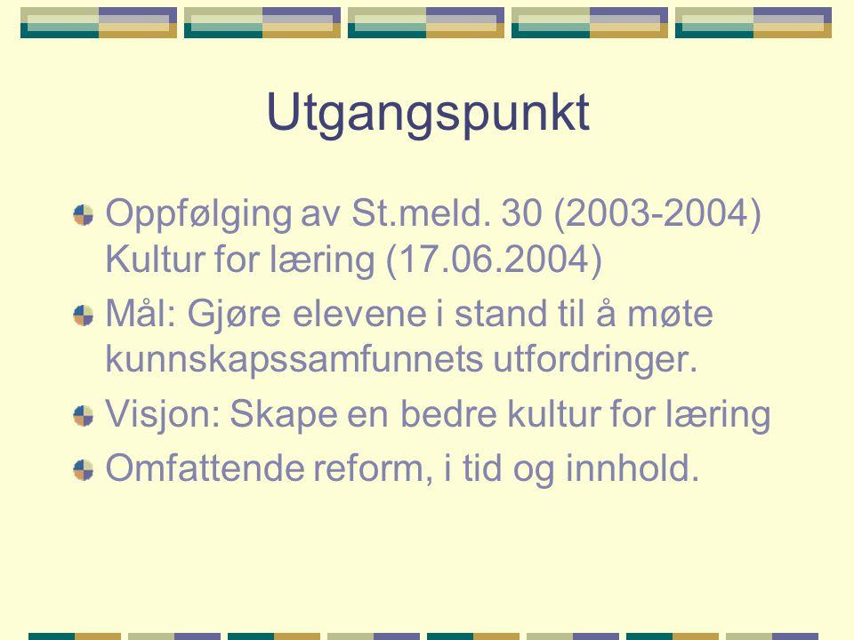 Utgangspunkt Oppfølging av St.meld. 30 (2003-2004) Kultur for læring (17.06.2004) Mål: Gjøre elevene i stand til å møte kunnskapssamfunnets utfordring