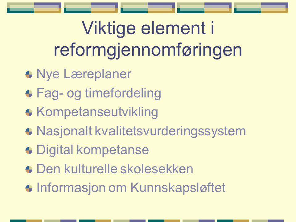 Viktige element i reformgjennomføringen Nye Læreplaner Fag- og timefordeling Kompetanseutvikling Nasjonalt kvalitetsvurderingssystem Digital kompetans