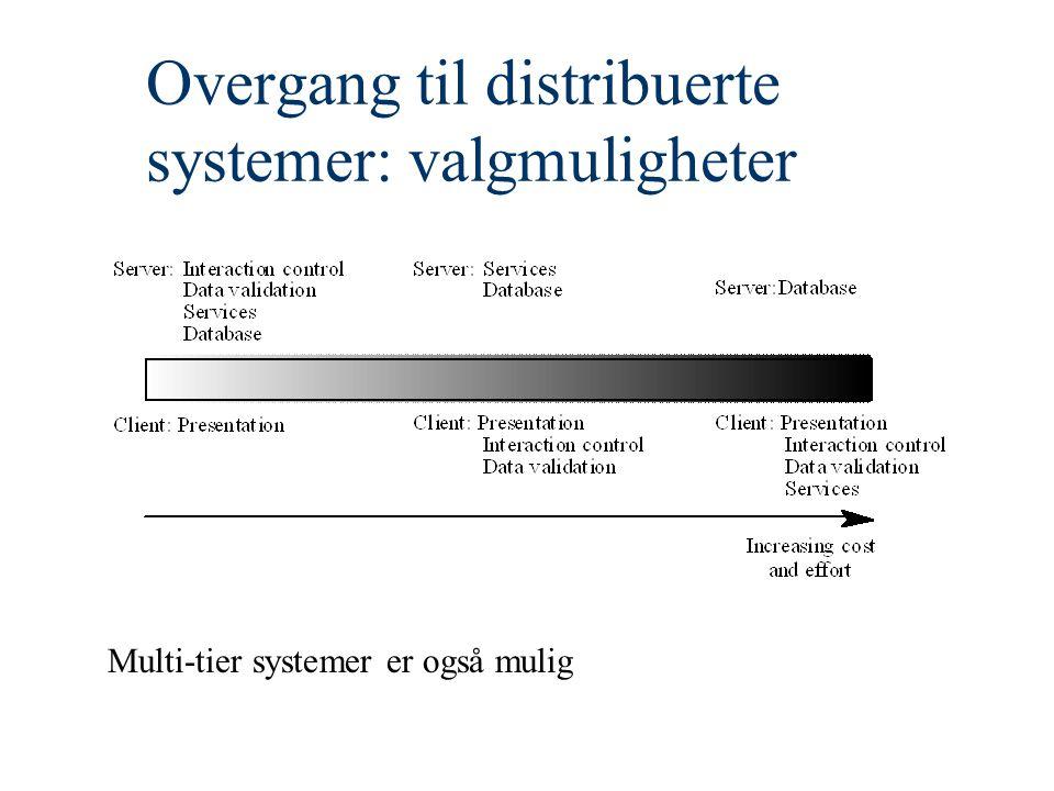 Overgang til distribuerte systemer: valgmuligheter Multi-tier systemer er også mulig