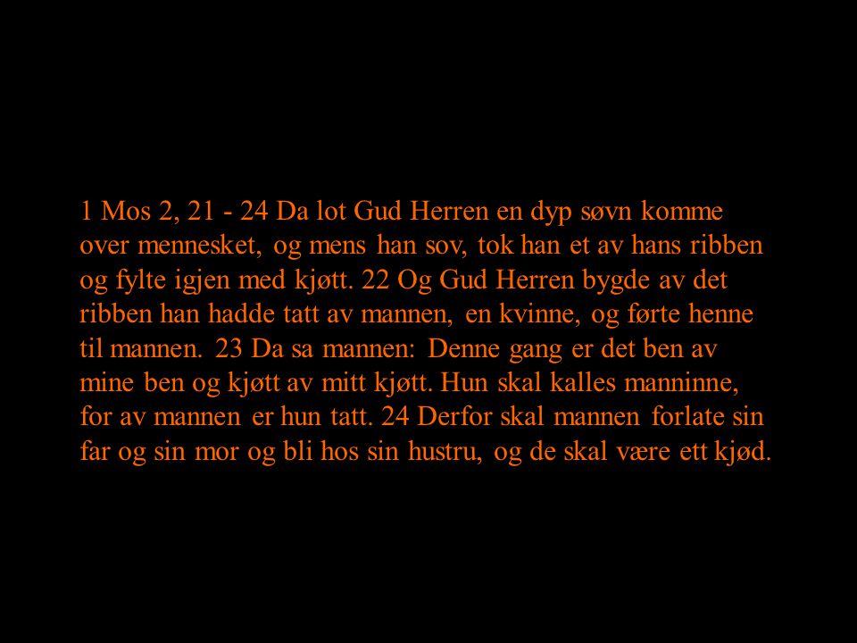 1 Mos 2, 21 - 24 Da lot Gud Herren en dyp søvn komme over mennesket, og mens han sov, tok han et av hans ribben og fylte igjen med kjøtt. 22 Og Gud He