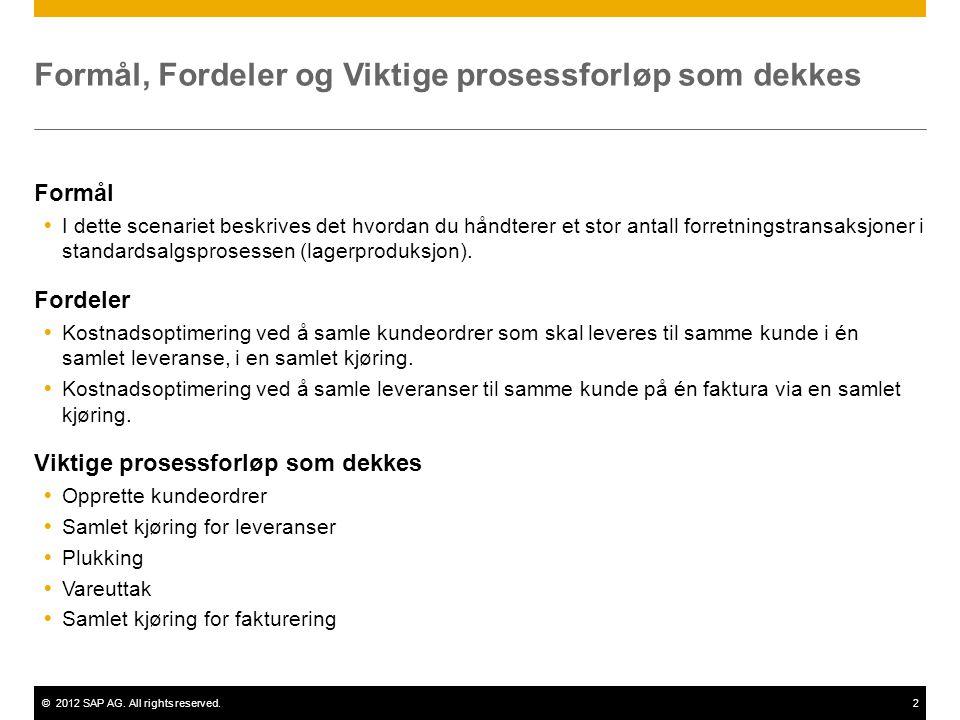 ©2012 SAP AG. All rights reserved.2 Formål, Fordeler og Viktige prosessforløp som dekkes Formål  I dette scenariet beskrives det hvordan du håndterer